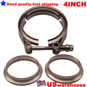 Universal 4 Auto Parts V Band Clamp Kit Fits Turbo Exhaust Pipesturbo Downpipe