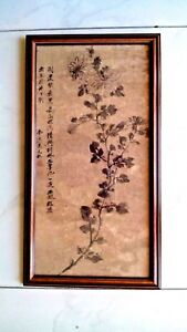Antique Very Old Chinese Original H Painted Ink On Paper Flower Painting Framed