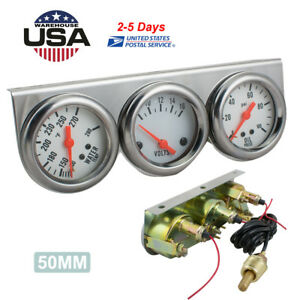 50mm Chrome Oil Pressure Water Volt Triple 3 Gauge Set Gauges Kit Parts Usa Ship