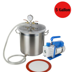 5 Gallon 1720 Rpm Stainless Steel Vacuum Degassing Chamber Kit 3cfm Pump Hose