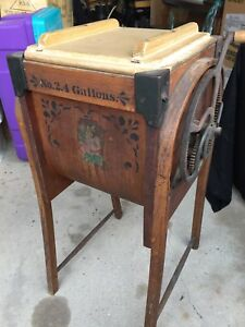 Orig Antique Bentwood Butter Churn M Brown Wapakoneta Ohio Excellent Cond