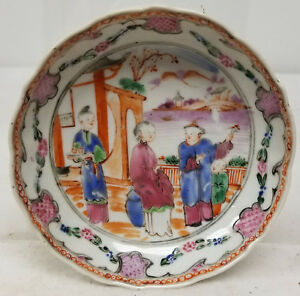 Antique Chinese Mandarin Palette Painted Rose Medallion Dish Undertray