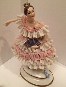 7 High Dresden Volkstedt Lace Ballerina Figure With Fan German Porcelain