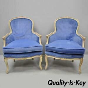 Pair Vintage Distress Painted French Louis Xv Style Blue Bergere Chair Armchairs