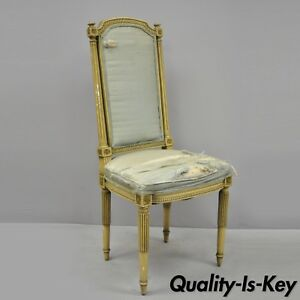 Vtg French Louis Xvi Cream Distress Painted Tall Back Dining Side Accent Chair