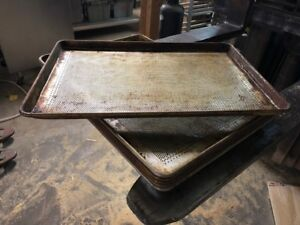 Lot Of 6 Commercial Full Size Baking Bakery Dough Cookie Perforated Sheet Pans