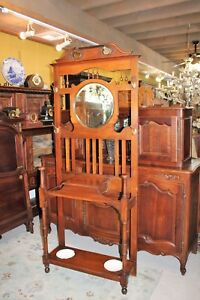 Mahogany William Mary Antique Hall Tree Stand Hat Rack W Mirror Storage Hanger