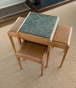 Vintage Set Of 3 Stacking Tables Wood With Green Marble Top