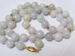 Estate Chinese 14k Gold Untreated Lavender Jade 10mm Bead Necklace 71 Grams