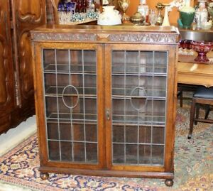 Antique English Jacobean Oak Leaded Glass 2 Door Bookcase Display Cabinet