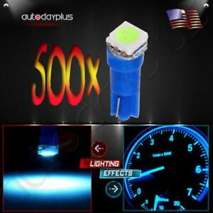 500x T5 Ice Blue Led 5050smd Dashboard Instrument Panel Light Bulbs For Ford