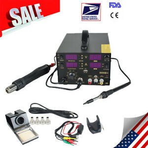 909d 4in1 Smd Soldering Iron Hot Air Rework Station Desoldering Repair 110v New