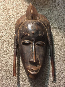 Gorgeous Rare Antique Large Wooden African Mask Face From Cameroon