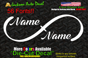 Infinity Personalized Name Decal Car Window Vinyl Graphic Love Bumper Sticker