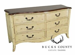 French Louis Xv Style Distressed Painted Cherry Dresser