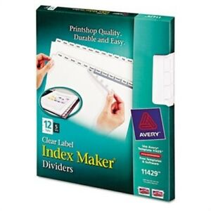 Index Maker Clear Label Dividers 12 tab Letter White 5 Sets pack 2 Pack