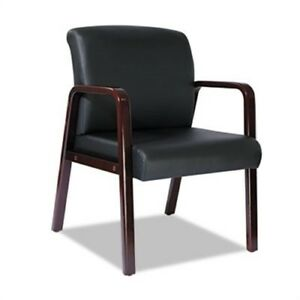 Reception Lounge Series Guest Chair Mahogany black Leather X 2