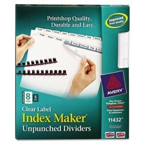 Index Maker Clear Label Unpunched Divider 8 tab Letter White 5 Sets 2 Pack
