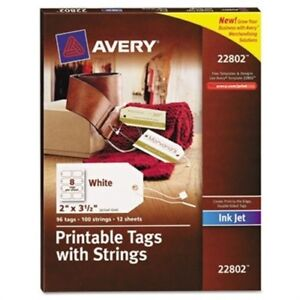 Blank Printer compatible Tags With Strings 2 X 3 1 2 White 96 pack 2 Pack