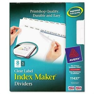Index Maker Clear Label Dividers 8 tab Letter White 5 Sets X 2