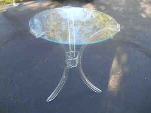 Vintage Mid Century Acrylic Lucite Hollywood Regency End Table Rare