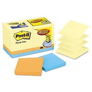 Bonus Pack Pop up Refills 3 X 3 Canary Yellow ast 100 sheet 18 pack 2 Pack