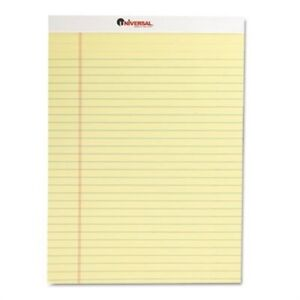 Perforated Edge Writing Pad Legal margin Rule Letter Canary 50 sheet Dozen 2pk