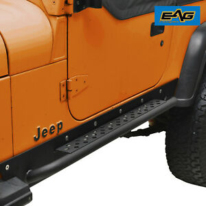 Eag 87 95 Jeep Yj Wrangler Rock Slider Rail Side Step Nerf Bar Black Textured