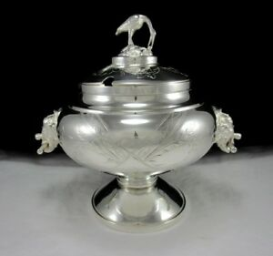 Antique Continental Silver Plate Soup Tureen W Elephant Handles Bird Finial