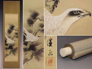 Hanging Scroll Japanese Painting Japan Hawk Picture Aged Original Antique 575i