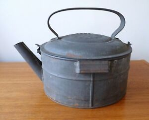 Antique Soldered Tin Kettle Tea Pot Patented 1876