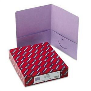 Two pocket Portfolio Embossed Leather Grain Paper Lavendar 25 box 2 Pack
