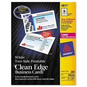 Two side Printable Clean Edge Business Cards Laser 2 X3 1 2 White 1000 box X2