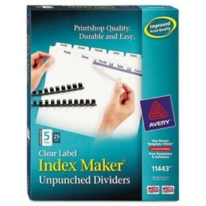 Index Maker Clear Label Unpunched Divider 5 tab Letter White 25 Sets 2 Pack