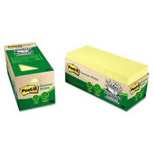 Recycled Notes 3 X 3 Canary Yellow 24 75 sheet Pads pack 2 Pack