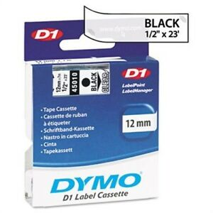 D1 Standard Tape Cartridge For Dymo Label Makers 1 2in X 23ft Black On Clear X 2