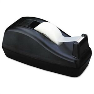 Deluxe Desktop Tape Dispenser Attached 1 Core Heavily Weighted Black 2 Pack