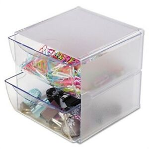 Two Drawer Cube Organizer Clear Plastic 6 X 7 1 8 X 6 X 2