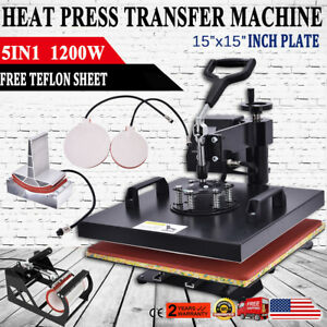 5 In1 Digital Heat Press Machine Sublimation T shirt Mug Plate Hat Printer 15x15