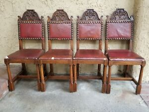 Set 4x Antique French Carved Tiger Oak Gothic Revival Dining Chairs Leather Seat