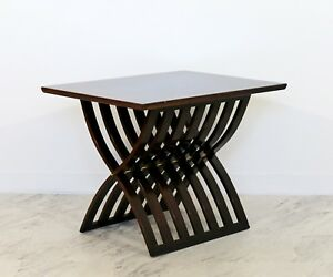 Mid Century Modern Harvey Probber Style X Base Mahogany Brass Side End Table 60s