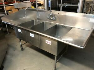 Load King 91 Commercial Heavy Duty 3 Compartment Food Wash Sink With Overspray