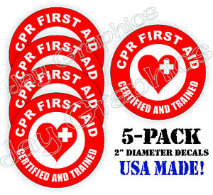 5pack Cpr First Aid Hard Hat Stickers Aed Emt Firefighter Rescue Helmet Decals