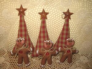 Prim Country Christmas Handmade Fabric 3 Gingerbread 3 Tree Ornaments Home Decor