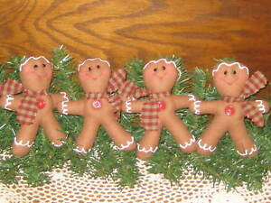 4 Primitive Christmas Gingerbread Tree Ornaments Bowl Fillers Handmade Decor