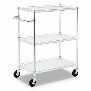 Alera 3 shelf Wire Cart With Liners 34 1 2 X 18 X 40 Silver 600 Lbs Capacity