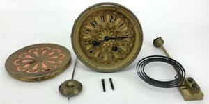 Antique French Japy Freres Mantle Clock Movement Dial Back Pendulum Chime Works