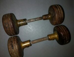 Lot Of 2 Sets Vintage Antique Wooden Door Knobs Dark Stain A2