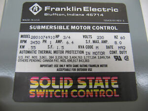 Franklin Electric Submersible Motor Control Box 1hp 230v 8a 1p Solid State