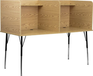 Double Wide Study Carrel With Adjustable Legs And Top Shelf In Oak Finish Brown